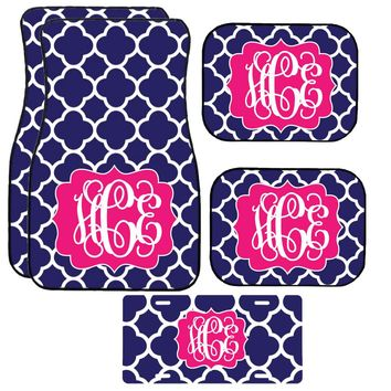 Navy Quatrefoil Car Mat /Plate & Frame / Seat belt cover / Key Chain / Car Coaster / Car Accessory Gift  Set