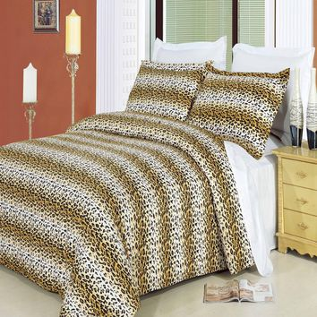 Cheetah Combed Cotton 3pc Duvet Cover Set