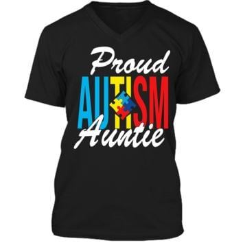 Proud Autism Auntie Awareness Support T-Shirt Mens Printed V-Neck T