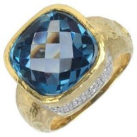 Torrini Designer Rings Stefy - Topaz and Diamonds Yellow Gold Ring