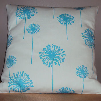 18x18 Light Blue Dandelion Floral Decorative Pillow Cover - Same Fabric Both Sides