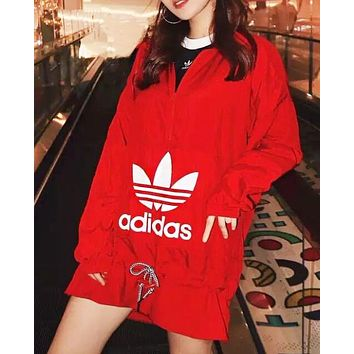 Adidas Fashion New Letter Leaf Print Long Sleeve Windbreaker Top Women Red