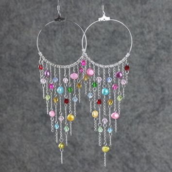 Colorful dangleing chandelier large big hoop statement Earrings Bridesmaids gifts Free US Shipping handmade Anni designs