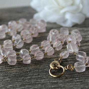 Rode Quartz Cube Beaded Necklace Strand, Gold Filled, Rosary Style, Wire Wrapped necklace, Pink Gemstone