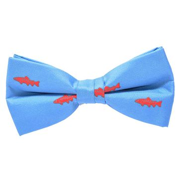 Trout Bow Tie - Light Blue, Printed Silk, Pre-Tied for Kids