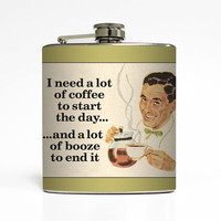 Whiskey Flask Liquid Courage Coffee Booze Funny Groomsmen Usher Guys Men 21st Birthday Gift Stainless Steel 6 oz Liquor Hip Flask LC-1454