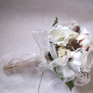 White woodland wedding bridal bouquet ,white cotton with roses and pine cones wedding bouquet , ,rustic , country wedding