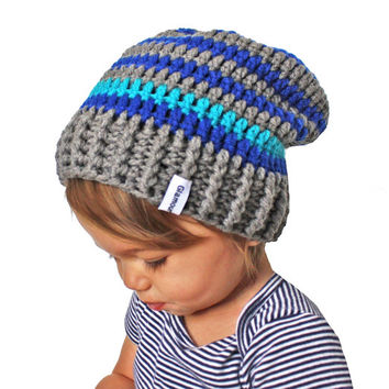 Blue and Grey Striped Crochet Slouch Baby Toddler or Childrens Beanie Any Size 0-8 Years Fitted or Slouchy style