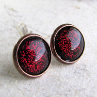 Red Black Sparkle Post Earrings  Antiqued Copper  by AshleySpatula