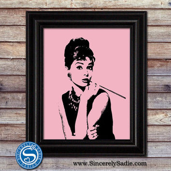 Audrey Hepburn 8x10 Silhouette - Pick Your Own Colors
