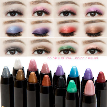 New Fashion Glitter Eyes Makeup Waterproof Color Pencils Smoky Silver Gold Powder Pigment Shimmer Eyeshadow Pencil