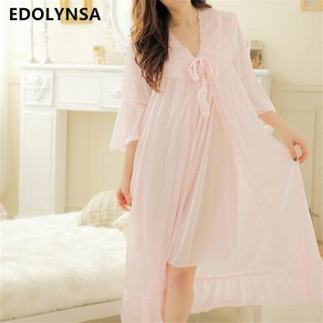 New Arrivals Sexy Nightgown Robes Set Bathrobe Sets Lace Nightdress Bridesmaid Robes Set Peignoir Wedding Robe Sets #H169