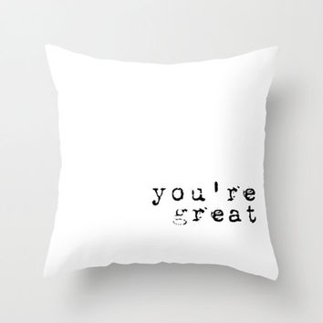 Throw Pillow Cover You're Great - Old Typewriter Typography Black White - 16x16, 18x18, 20x20 - Nursery Original Design Home Décor by Adidit