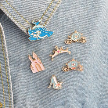 Trendy 1 pcs fairy tale princess dress metal brooch button pins denim jacket pin jewelry decoration badge for clothes lapel pins AT_94_13