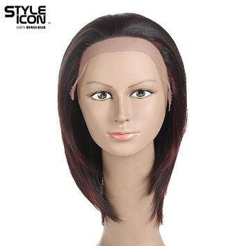 Styleicon Brazilian Virgin Hair Lace Front Human Hair Wigs For Women Color F1b/99J 10 Inch Short Wigs Free Shipping