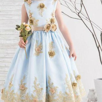 Cute Tea-Length Blue with Gold Lace Flower Girls Dresses For Wedding Party Kids Pageant Communion Gowns