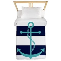 Teal Anchor on Blue Stripes Twin Duvet> Duvets> Heartlocked