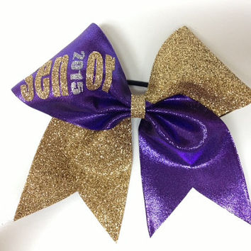 Gold glitter and purple senior 2015 cheer bow