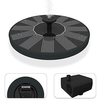Cute Solar Powered Bird bath Fountain Pump, Free Standing Garden 1.4W Solar Panel Kit Water Pump, Outdoor Watering Submersible Pump (Circle) - By Zonore ® (Birdbath & Stand Not Included)