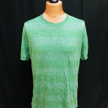 Retro THE RAW UNCUT Green V-Neck Designer Stripy Stripe T-Shirt Large