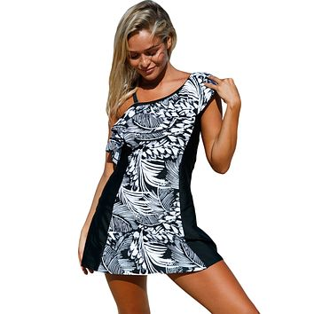 Monochrome Jungle 1pc Swim Dress with Shorts