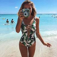 Sexy Swimwear Women Bathing Suit Swim Lady Print Bandage Swimsuit One Piece Swimsuit
