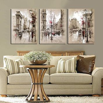 3-Piece Abstract City Street Landscape Canvas Painting