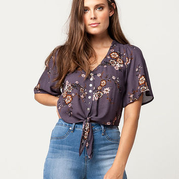 SOCIALITE Floral Tie Front Womens Top | Blouses