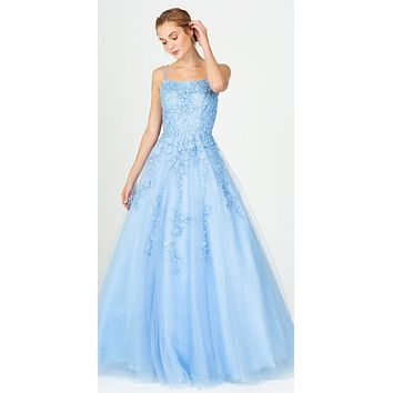 Appliqued Bahama Blue Prom Ball Gown Lace-Up Back