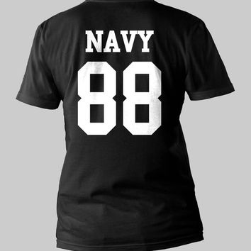 Rihanna Navy 88 date of birth Printed Back Men or Women Shirt Unisex Size  Black and White T-Shirt