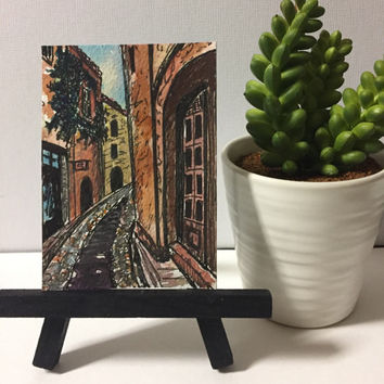 ACEO original, ATC artist trading card, Europe painting, Watercolor Architecture, ACEO,pen and ink, Desk art,  great gift