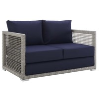 Aura Outdoor Patio Wicker Rattan Loveseat Gray Navy EEI-2924-GRY-NAV