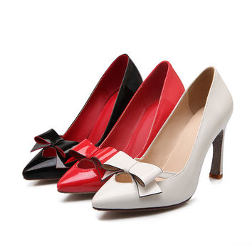 Patent Leather Bow Pumps High Heels Women Shoes 9699