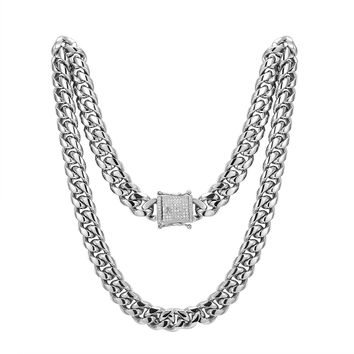 "Stainless Steel 14mm Miami Cuban Link 14k White Gold Finish Chain 30"" Designer Iced out new Lock"
