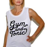 Social Decay Gym & Tonic Muscle Tee in White