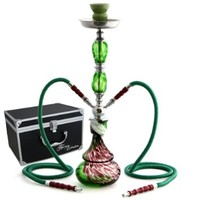 "GSTAR 22"" 2 Hose Hookah Complete Set with Optional Carrying Case - Swirl Glass Vase - (Gaea Green w/ Case)"