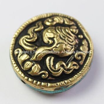 1 BEAD - Repousse Carved Brass Auspicious Conch Round Disc Shape Tibetan Bead with Turquoise Side Inlays - Handmade Tibetan Beads - B2430-1