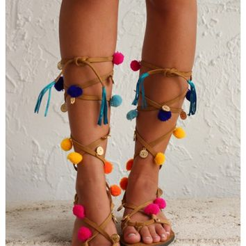 Leather lace up pom pom sandals | Pom Pom Sandals | escloset.com
