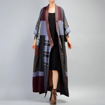 Yesno JQ5 Women Casual Loose Long Maxi Button-Down Trench Coat Outwear HanFu Jacket Striped Color Block Wide Cuff Half Sleeve
