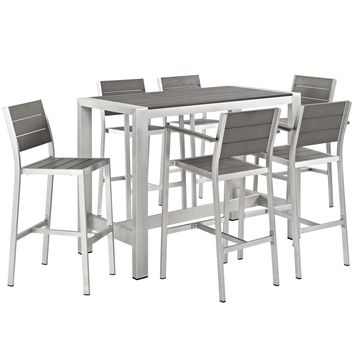 Shore 7 Piece Outdoor Patio Aluminum Dining Set