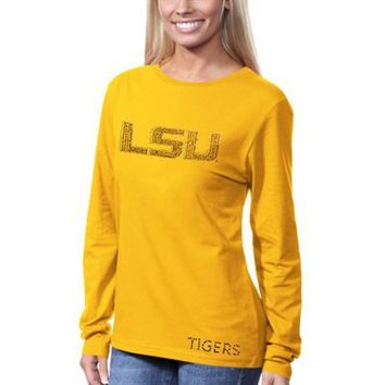 LSU Tigers Ladies Rhinestone Bling Logo Long Sleeve T-Shirt - Gold