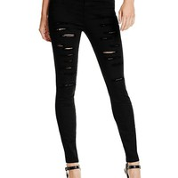 Fatima High-Rise Destroyed Skinny Jeans | GuessFactory.com