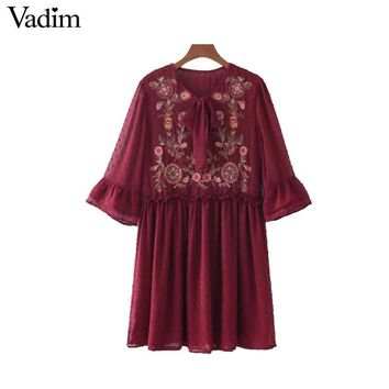 Vadim women bow tie floral embroidery chiffon dress ruffles flare sleeve pleated casual retro dresses vestido mujer QZ3213
