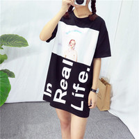 """In Real Life"" Tee Girl Graphic Print Loose Long T-Shirt"