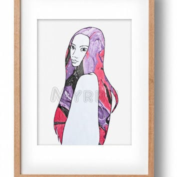 Original Ink Painting Giclee Print, High Quality Fine Art Print Of Original Painting, Long Hair Purple and Red Woman Portrait Ink Art