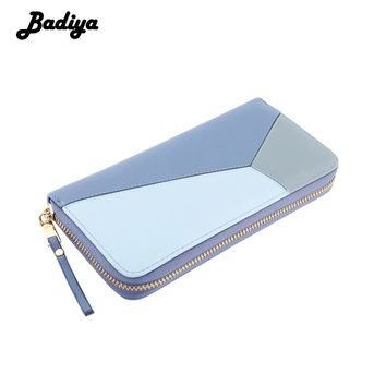 Badiya Candy Color Fashion Women Wallet Long Patchwork PU Leather Women's Card Holder Purse Zipper Design Female Walet