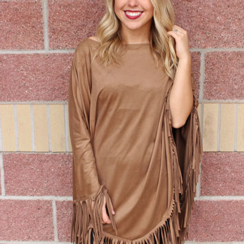 Raw edge poncho suede top