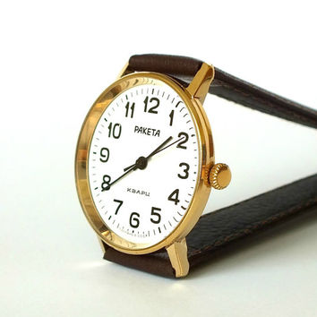 Gold Plated Watch Raketa Quartz. Slim Wrist Watch For Men. White Dial Men's Watch. Vintage Gent's Watch. Mens Dress Watch. Classic Watch.