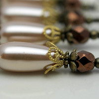 Golden Pearl Teardrop and Copper Czech Bead Dangle Charm Drop Set - Earring Dangle, Pendant, Drop, Charm