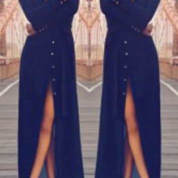 Purplish Blue Long Sleeve Maxi Dress